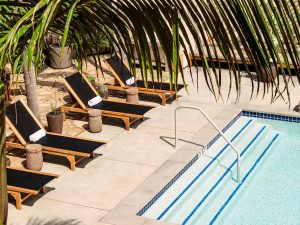 Overhead view of pool, lounge chairs and palm leaves in the foreground